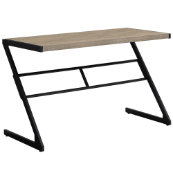 Monarch Specialties Computer Desk With Z-Shaped Metal Base, Dark Taupe/Black