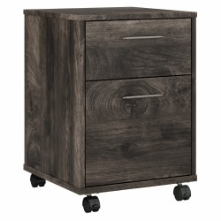 Bush Furniture Key West 2-Drawer Mobile File Cabinet, Dark Gray Hickory, Standard Delivery