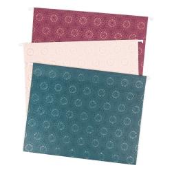 "U Brands Hanging File Folders, Letter Size, 8-1/2"" x 11"", Fleuri Jewel Tones, Pack of 12 Folders"