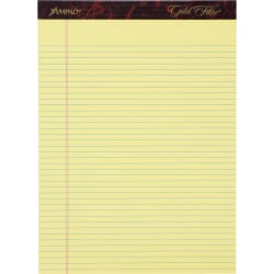 Ampad Gold Fibre Remanufactured Writing Pads, Letter Size, Narrow Ruled, 50 Sheets, Canary Yellow, Pack Of 12