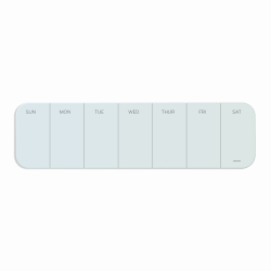 """U Brands Unframed Magnetic Cubical Dry-Erase Weekly Whiteboard, 20"""" x 5 1/2"""" Frosted White"""