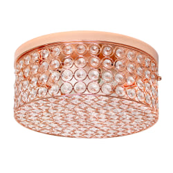 """Elegant Designs Elipse Crystal 2-Light Round Flush-Mount Ceiling Fixture, 5""""H, Rose Gold"""