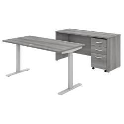 "Bush Business Furniture Studio C 60""W x 30""D Height-Adjustable Standing Desk, Credenza And Mobile File Cabinet, Platinum Gray, Standard Delivery"