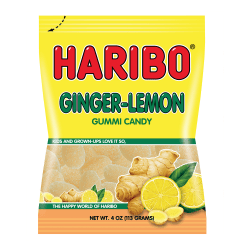 Haribo Ginger Lemon Gummies, 5 Oz, Pack Of 12 Bags