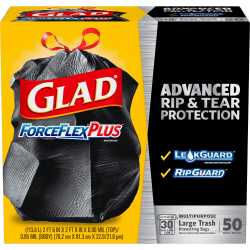 Glad ForceFlexPlus Drawstring Large Trash Bags - Large Size - 30 gal - 0.90 mil (23 Micron) Thickness - Black - 50/Box - Home, Garbage, Office, Commercial, Restaurant