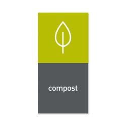 "simplehuman Magnetic Trash Label, Compost, 4"" x 8"", Gray"