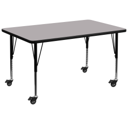 """Flash Furniture Mobile 48""""W Rectangular Thermal Laminate Activity Table With Short Height-Adjustable Legs, Gray"""