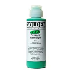 Golden Fluid Acrylic Paint, 4 Oz, Permanent Green Light