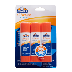 Elmer's® Office Strength Glue Sticks, All Purpose, 0.77 Oz., Clear, Pack Of 3