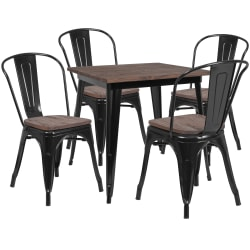 """Flash Furniture Square Wood Top Metal Table Set With 4 Stack Chairs, 30-1/2""""H x 32-1/4""""W x 32-1/4""""D, Black"""