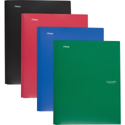 Mead Pocket Folder - 3 x Prong Fastener(s) - 2 Pocket(s) - Assorted - 4 / Pack