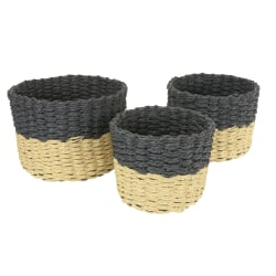 GNBI 3-Piece Round Basket Set, Medium Size, Black/Natural
