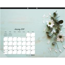 Rediform Romantic Desk Pad - Julian Dates - Monthly - 1 Year - January 2021 till December 2021 - 1 Month Single Page Layout - Desk Pad - Floral - Fiber