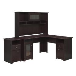 "Bush Furniture Cabot 60""W L-Shaped Desk With Hutch And 2-Drawer File Cabinet, Espresso Oak, Standard Delivery"