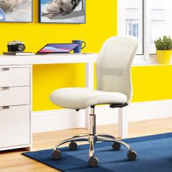 Serta® Essentials Mid-Back Computer Chair, Inspiration Cream/Chrome