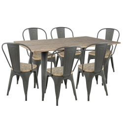 Lumisource Oregon Industrial Farmhouse Dining Table With 6 Dining Chairs, Gray/Brown