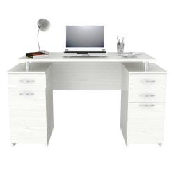 """Inval 51""""W 2-Pedestal Computer Desk, Washed Oak"""