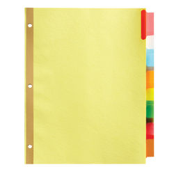 Office Depot® Brand Insertable Dividers With Big Tabs, Buff, Assorted Colors, 8-Tab, Pack Of 4 Sets