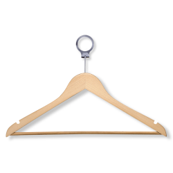 "Honey-Can-Do Wood Hotel Suit Hangers, 8 1/2""H x 1/2""W x 17 11/16""D, Maple, Pack Of 24"