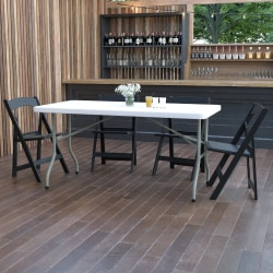 "Flash Furniture Plastic Folding Table, 29""H x 30""W x 60""D, Granite White"
