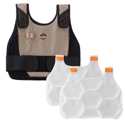 Ergodyne Chill-Its Phase Change Cooling Vest, Premium FR, Small/Medium, Khaki, 6215