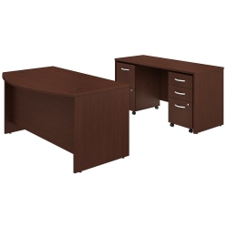 "Bush Business Furniture Studio C Bow Front Desk And Credenza With Mobile File Cabinets, 60""W x 36""D, Harvest Cherry, Premium Installation"