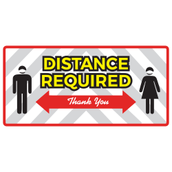 """Alliance Social Distance Floor Graphics, 8"""" x 17"""", Distance Required - Thank You, Set Of 25 Graphics"""