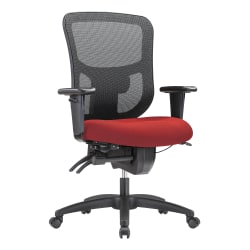 WorkPro® 9500XL Series Ergonomic Mesh/Premium Fabric Mid-Back Big & Tall Chair, Black/Cherry