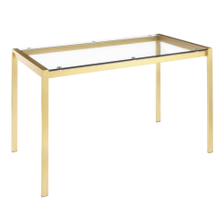 "LumiSource Fuji Industrial Dining Table, 29-3/4""H x 50-1/4""W x 27-3/4""D, Gold/Clear"