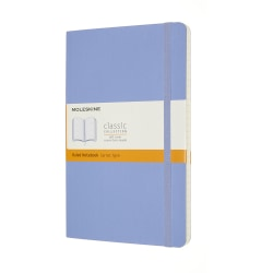 """Moleskine Classic Soft Cover Notebook, 5"""" x 8-1/4"""", Ruled, 240 Pages (120 Sheets), Hydrangea Blue"""