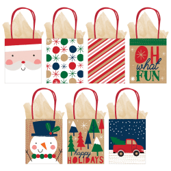 """Amscan Christmas Oh What Fun Small Vertical Gift Bags, 5-1/4""""H x 4-1/2""""W x 2-3/4""""D, Assorted Colors, Pack Of 28 Bags"""