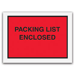 "Office Depot® Brand ""Packing List Enclosed"" Envelopes, Full Face, Red, 4 1/2"" x 6"" Pack Of 1,000"