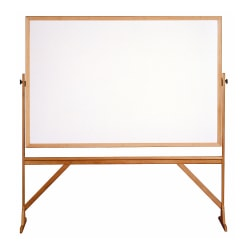 """Ghent 2-Sided Dry-Erase Whiteboard, 78 1/8"""" x 77 1/4"""", Wood Frame With Brown Finish"""