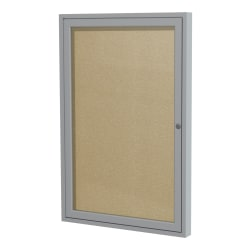 "Ghent 1-Door Enclosed Bulletin Board, Vinyl, 36"" x 24"", Carmel, Satin Aluminum Frame"