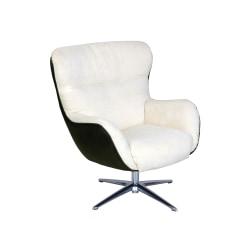 Serta® Rylie Collaboration Lounge Chair, Cream/Black Synergy/Silver