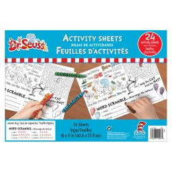 "Amscan Dr. Seuss Desk Activity Sheets, 11"" x 16"", White, 24 Sheets Per Pack, Set Of 3 Packs"