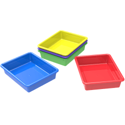 Storex® Flat Storage Trays, Small Size, Assorted Colors, Pack Of 5
