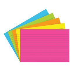 "Top Notch Teacher Products® Brite Lined Index Cards, 4"" x 6"", Assorted Colors, 75 Cards Per Pack, Case Of 6 Packs"