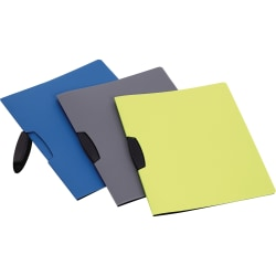 """Oxford Letter Report Cover - 8 1/2"""" x 11"""" - Clip Fastener - Poly - Assorted - 25 / Box"""