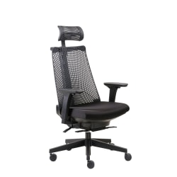 The molded foam seat upholstered with black crepe fabric is ideal for sitting comfortably. This chair has a self-adjusting synchro-tilt mechanism. Height-adjustable armrests let you perform writing, typing and other tasks with ease.