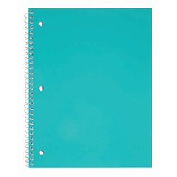 "Just Basics® Poly Spiral Notebook, 8 1/2"" x 10 1/2"", Wide Ruled, 140 Pages (70 Sheets), Teal"