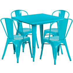 """Flash Furniture Commercial-Grade Square Metal Table Set With 4 Stack Chairs, 29-1/2""""H x 31-1/2""""W x 31-1/2""""D, Crystal Teal-Blue"""