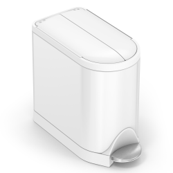 simplehuman Butterfly Step Stainless Steel Trash Can, 2.64 Gallons, White