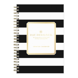 "Blue Sky™ Day Designer Daily/Monthly Planner, 8"" x 5"", Black Rugby Stripe, January To December 2021, 124841"