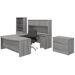 "Bush Business Furniture Studio C 72""W U-Shaped Desk With Hutch, Bookcase, File Cabinets And Mid-Back Office Chair, Platinum Gray, Premium Installation"