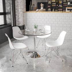 """Flash Furniture Round Glass Cocktail Table, 29""""H x 39-1/4""""W x 39-1/4""""D, Clear/Chrome"""