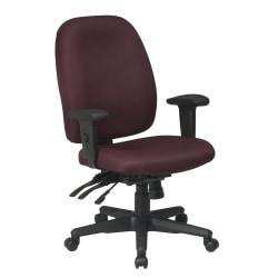 "Office Star™ Work Smart Ergonomic Multifunction High-Back Chair, 38-1/4""H , Burgundy/Black"