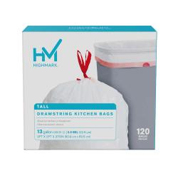 "Highmark™ Tall 0.9 mil Drawstring Kitchen Trash Bags, 13 Gallon, 27.375"" x 24"", White, Box Of 120"