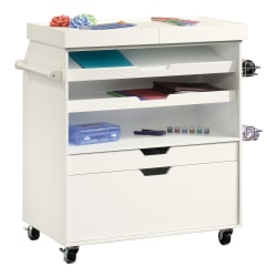 "Sauder® Craft Pro Series Mobile Craft Cart, 36""H x 37-1/4""W x 19-1/2""D, Soft White"