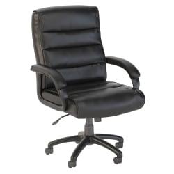 Bush Business Furniture Soft Sense Bonded Leather Mid-Back Office Chair, Black, Standard Delivery